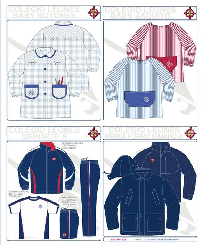 Los uniformes de infantil y de ropa deportiva del Colegio Leonés.