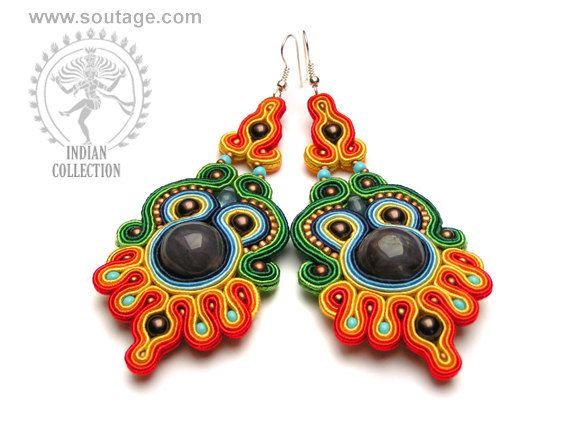 Krishna 2 handmade soutache earrings with natural agates