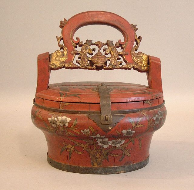 Antique Chinese Hand Painted Wooden Lunch Box C