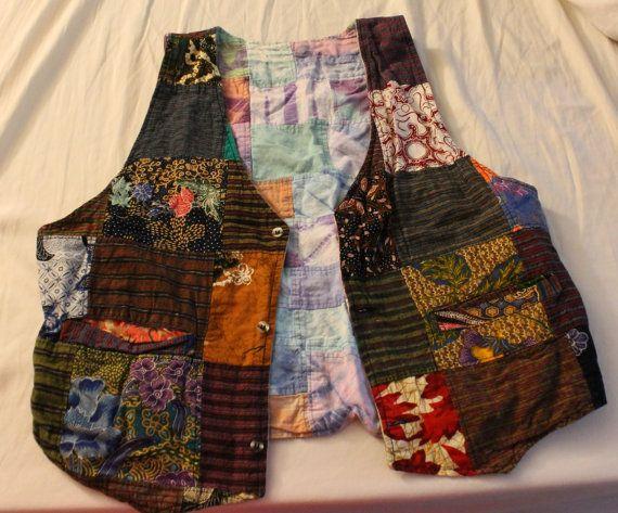 Reversible Vintage Patchwork Vest by GraingerCreations on Etsy, $10.00