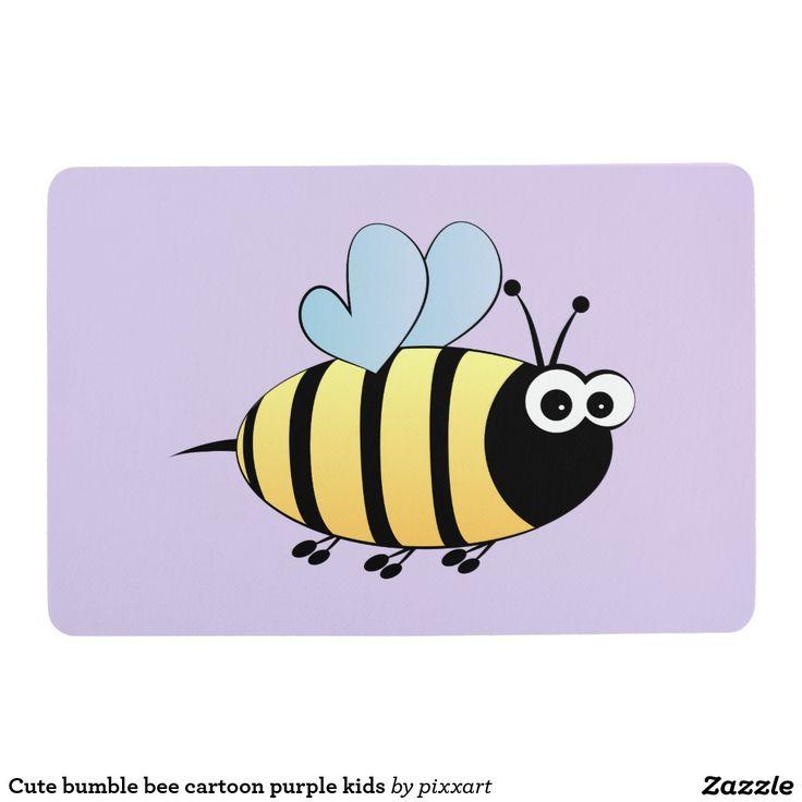 Cute bumble bee cartoon purple kids floor mat