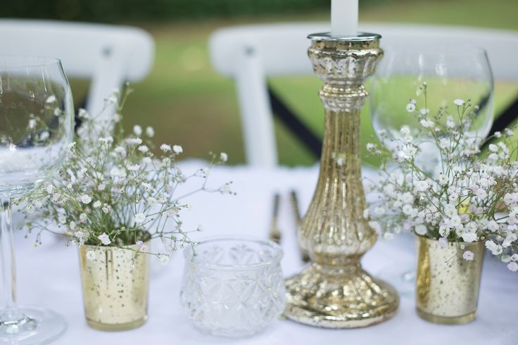 gold mercury glass candlestick and tealights