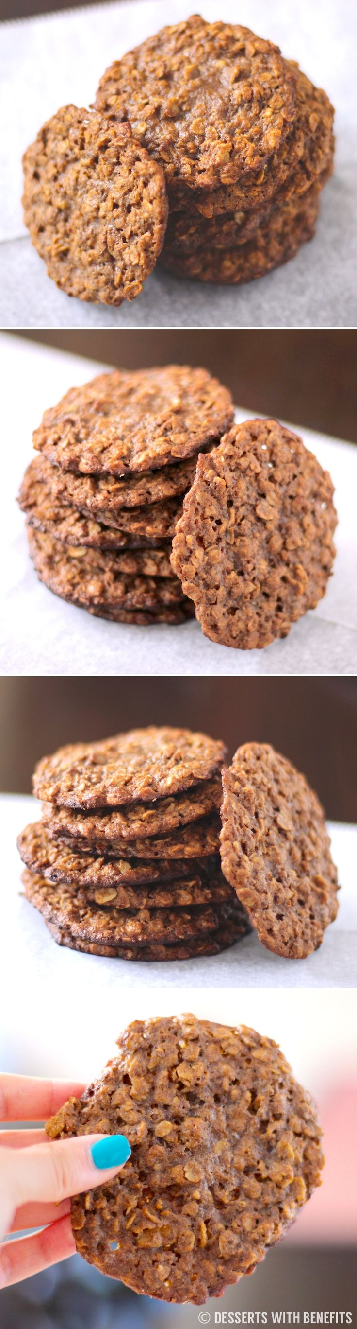 Secretly Healthy JUMBO Peanut Butter Oatmeal Cookies! Theyre huge, and theyre made without flour, butter and sugar. When it comes to cookies, bigger is better! [eggless, refined sugar free, gluten free, vegan]