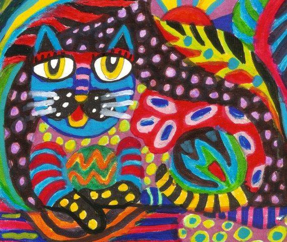 Arte gato arte popular mexicano gato por AGirlAnOwlAndACat en Etsy                                                                                                                                                                                 Más