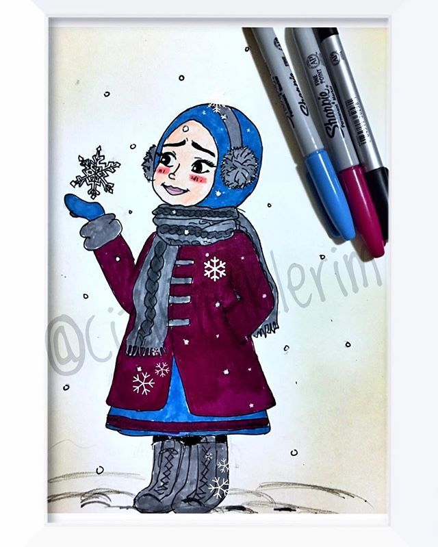 #hellowinter  #❄️ # #☃ #çizim #illustrasyon #illustration #ciziktiriklerim #sharpie  #resim #myart #drawing #sketching  #instaart  #watercolor #painting  #instaartist #art #cartoonarts #artoftheday #instadraw #instaartist #snow #snowgirl #hijab