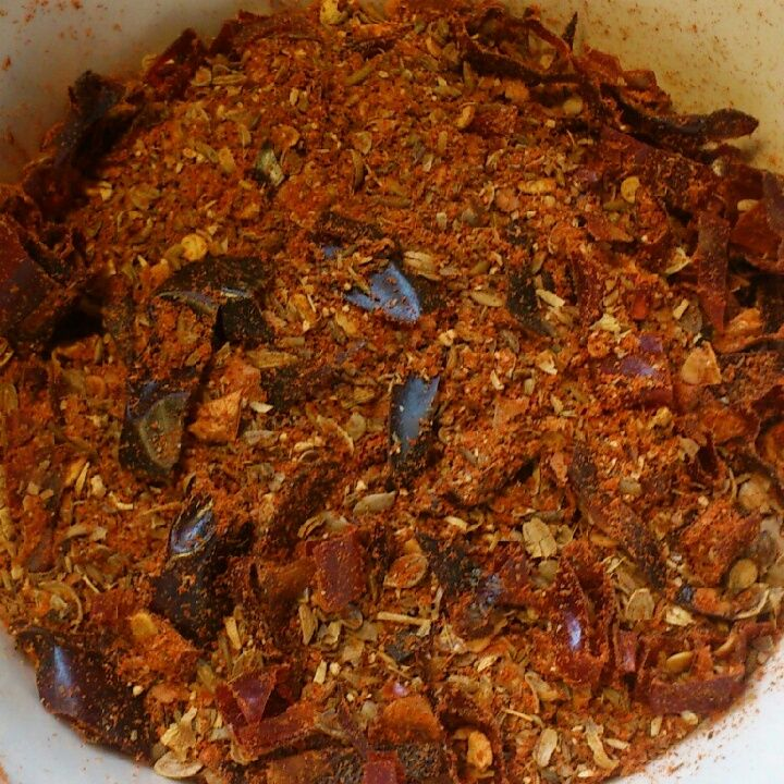 New link to harissa spice mix. Used Guajillo chili and Indian chili.