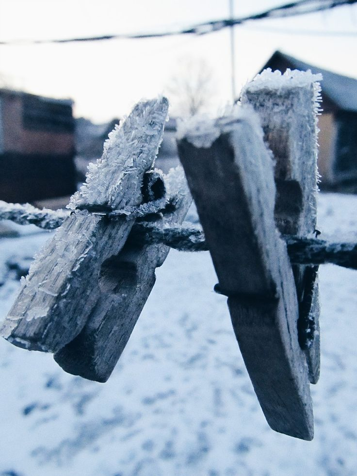 Frost on the clothes pins...