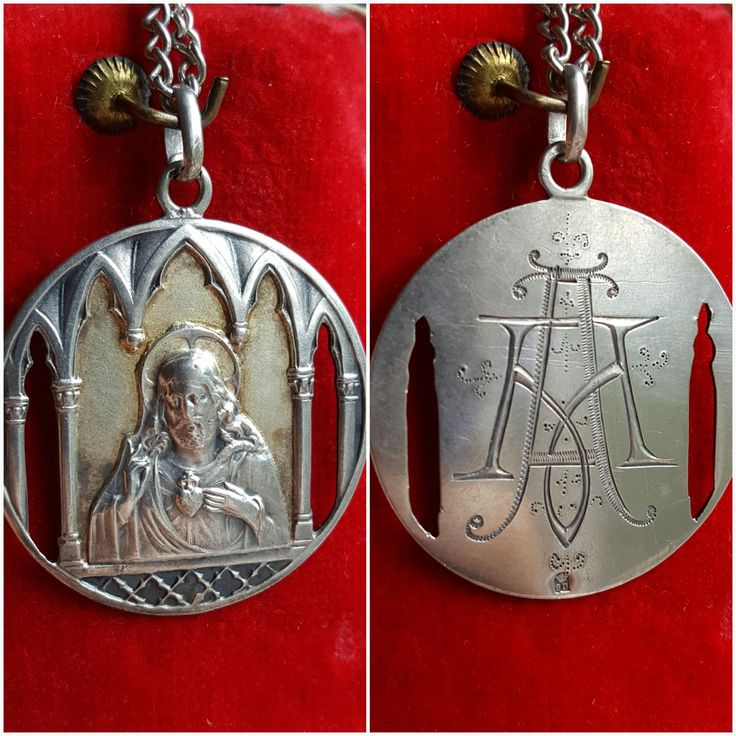 Engraved Silver Sacred Heart of Jesus Medal Catholic Jewelry Initials AM MA Jesus Christ Sacred Heart Necklace by SacredBarcelona on Etsy