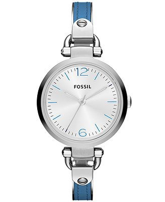Fossil Watch, Women's Georgia Blue Leather and Stainless Steel Bangle Bracelet 32mm ES3255