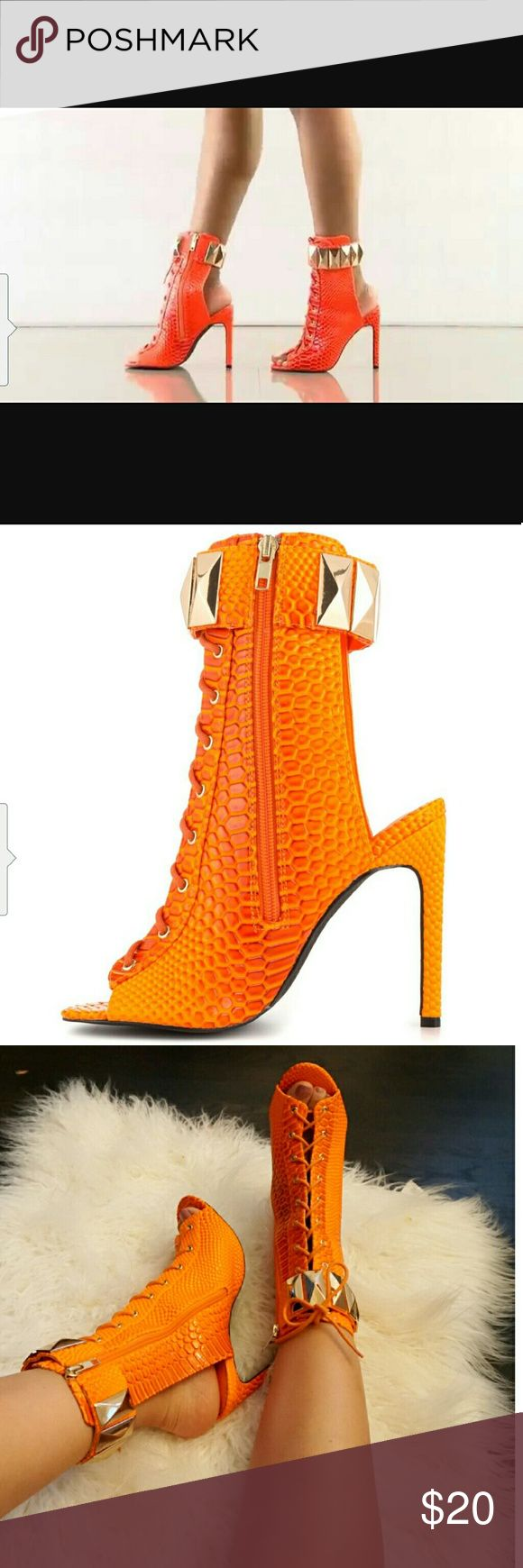 Privileged - Fight Night Heels size 9 Material: Faux Snake Skin Patent Leatherette Heel Height: 4.75 in Fit: True to size Size: 9 Color: Neon Orange Shoes Heels