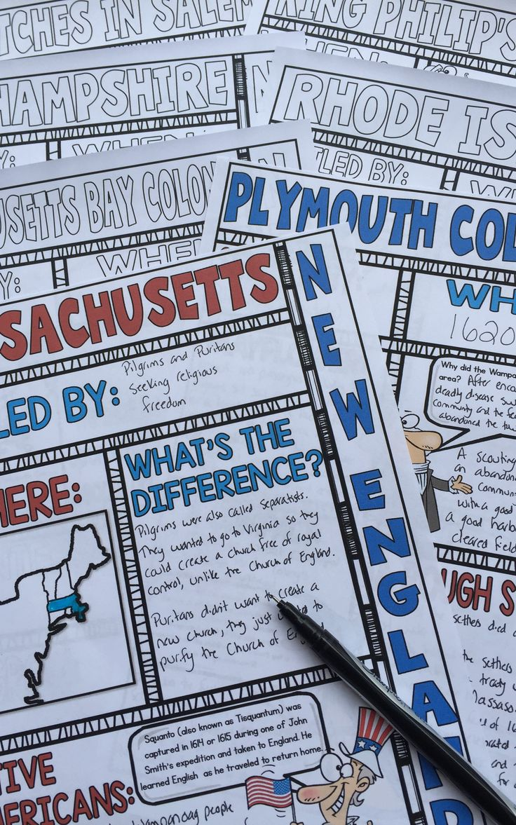 Engage students with these New England Colonies doodle notes from History Gal. These fun doodle notes cover the colonization of the Plymouth Colony, the Massachusetts Bay Colony, Rhode Island, Connecticut, and New Hampshire. They also include King Philip's War and the Salem Witch Trials. This works great in your 4th, 5th, 6th, 7th, 8th, 9th, 10th, or 11th grade classroom! $