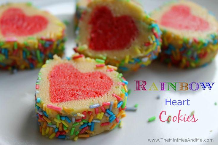 Rainbow Heart Cookies - Pin It