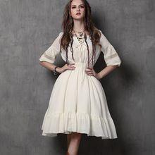 2015 осень новый урожай хлопка рукав фонарик оборками лоскутное платье-линии женщины платья 2 цвета Vestidos Femininos(China (Mainland))