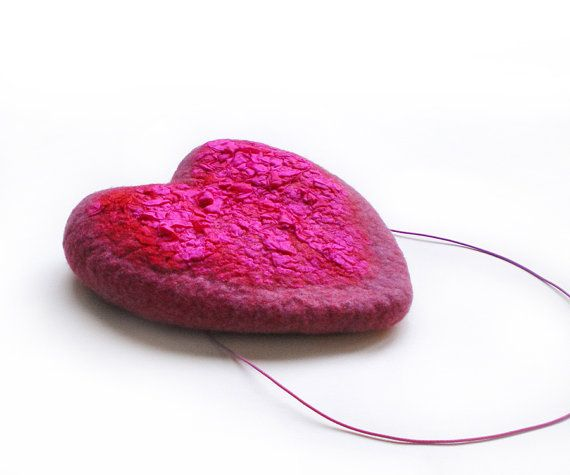 Hot Pink Heart Fascinator Wedding Headpiece Cocktail by IssaFelt