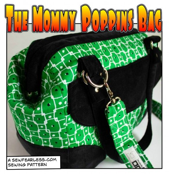 """Mommy Poppins Bag Pattern - a """"carpetbag"""" style shoulder bag that uses a internal purse frame for the opening."""