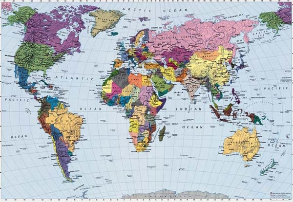 Wall Mural Photo Wallpaper World Map