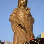 Penang Kek Lok Si Temple Kuan Yin Statue Before Octagonal Pavillion