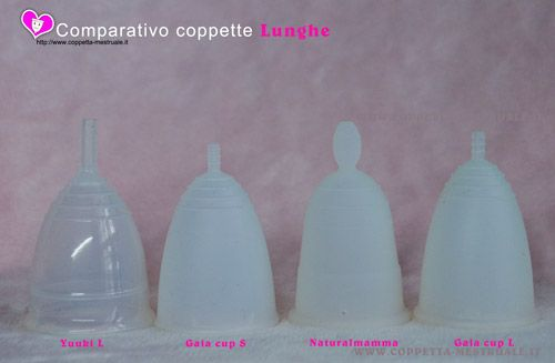 comparativo coppette mestruali lunghe comparative picture of long menstrual cups https://www.coppetta-mestruale.it/yuuki.php