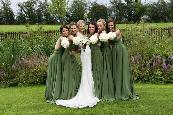 Two Birds Bridesmaids dress in Olive