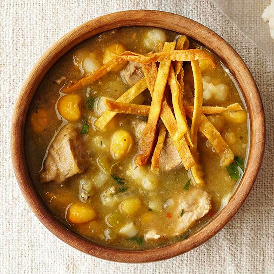 You'll want to try this declicious slow-cooker Mexican-Style green chile pork posole. This Mexican favorite is packed with flavor and nutrious. Serve whole grain or corn tortillas for an easy weeknight meal.