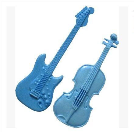 Nueva venta al por mayor venta caliente de la Guitarra Violín Instrumento Musical de chocolate molde de silicona fondant Cake decoración del molde del molde del chocolate