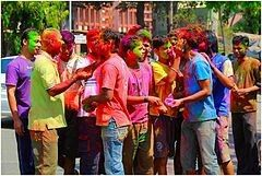 Holi Festival of Colours Holi Celebration 2013.jpg Holi celebration in India Observed byHindus,[1] also some Jains,[2] Newar Buddhists[3] and other non-Hindus[4] Typereligious, cultural, spring festival CelebrationsNight before: Holika Bonfire On Holi: spray colours on others, dance, party; eat festival delicacies[5] Dateper Hindu calendar[note 1] 2017 dateMonday, 13 March[6] 2018 dateFriday, 2 March 2019 dateThursday, 21 March Frequencyannual Holi (pronunciation: /ˈhoʊliː…