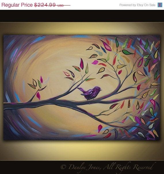 Bird on a Branch painting on canvas huge art 36 x 24. $179.99, via Etsy.