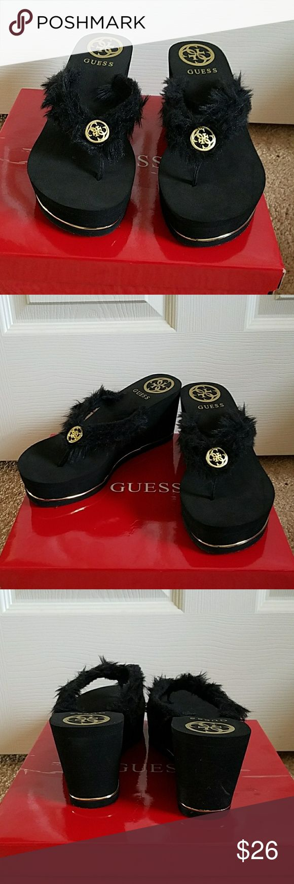 Guess Black/Gold fur wedge flip flopsNWB 8 5/9 Guess Black and Gold fur platform wedge flip flops sized as 9 but i own alot in this brand and these fit like 8.5 super cute! Guess Shoes Sandals