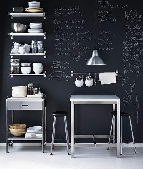 Фотография: Кухня и столовая в стиле Лофт, Декор интерьера, Интерьер комнат, грифельная доска, грифельная доска в интерьере кухни, практичный декор – фото на InMyRoom.ru