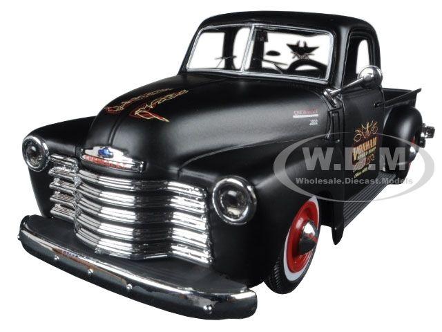 "diecastmodelswholesale - 1950 Chevrolet 3100 Pickup Truck Matt Black ""Outlaws"" 1/25 Diecast Model Car by Maisto, $16.49 (https://www.diecastmodelswholesale.com/1950-chevrolet-3100-pickup-truck-matt-black-outlaws-1-25-diecast-model-car-by-maisto/)"