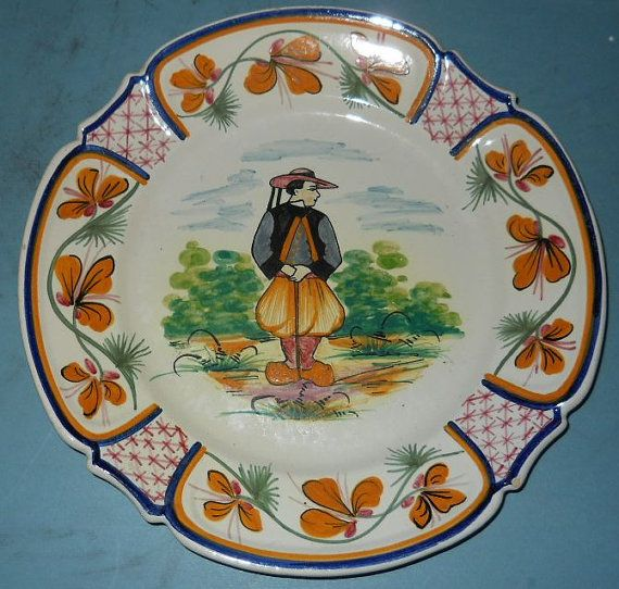 """Antique HB Quimper France Hand Painted Country Man 9 1/2"""" Art Pottery Plate - 1893 - 1910"""