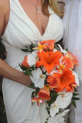 Gorgeous orange and white tropical bouquet