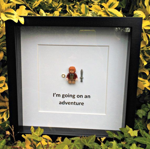 Handmade framed brick figure art. Depicting Bilbo Baggins and the quote Im going on an adventure.  This would make a great gift for any fans of