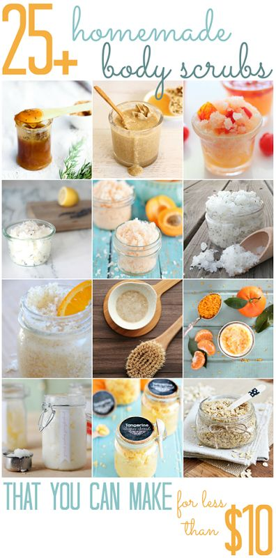 Over 25 Homemade Body Scrubs (that you can make for less than $10!) - All Cheap Crafts   PERFECT FOR MOTHER'S DAY GIFTS!
