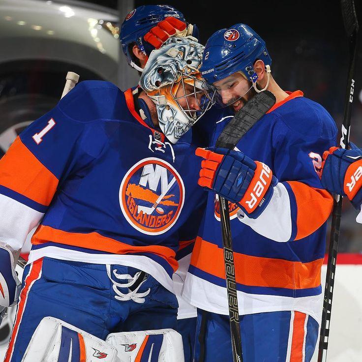 12/23/16: Holiday Hockey Hugs Between Greiss and Leddy vs Buffalo.    #LGI