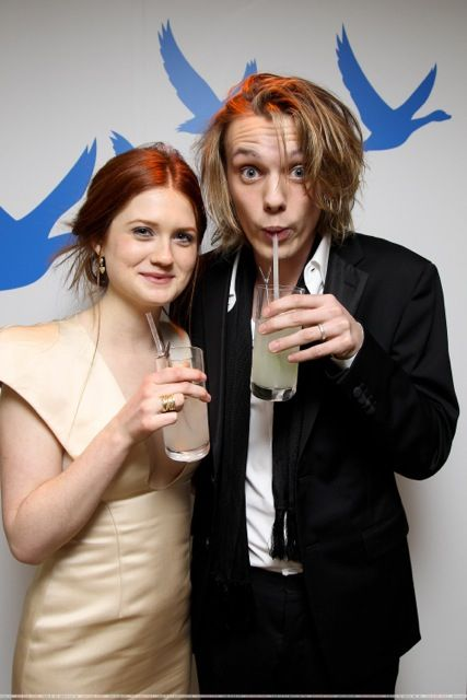 Jamie Campbell Bower and girlfriend of Harry Potter. Hp: Don't touch her!!! Your to handsome