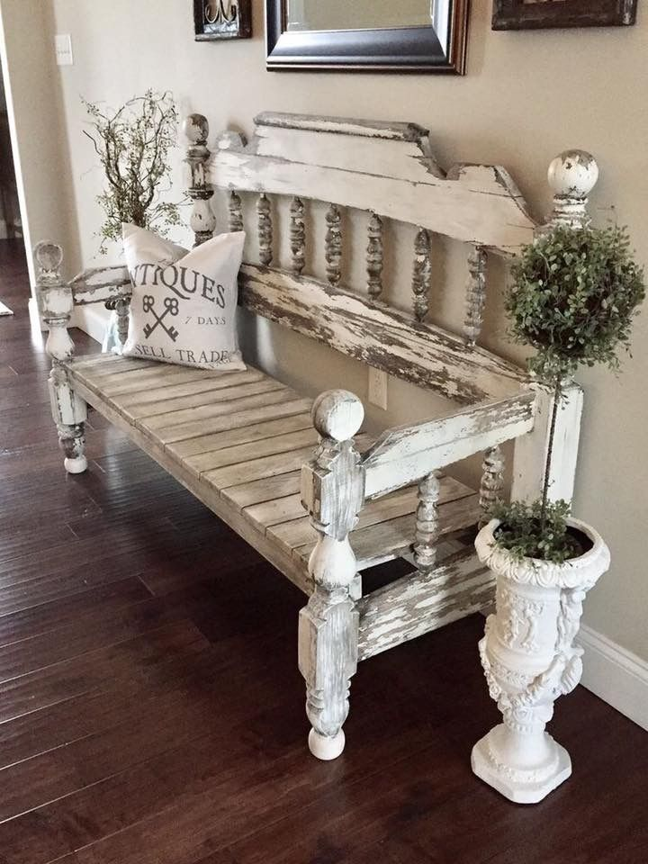 Shabby Bench with re-purpose bed frame