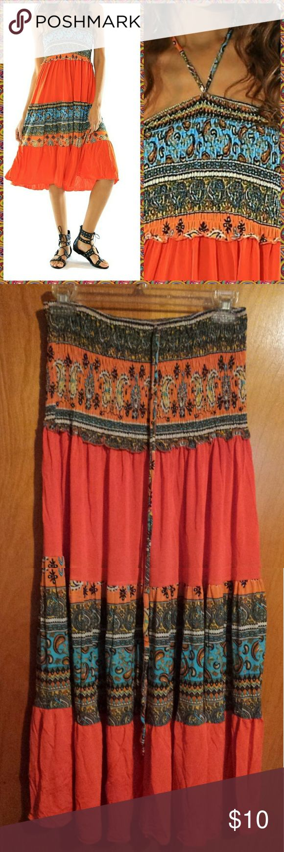 """🛍️ FINAL MARKDOWN - PRICES FIRM Summer convertible festival dress also looks great as a skirt with your favorite top. Features include a convertible neck/waist tie. Orange/Blue paisley print. 95% Polyester,  5% Spandex.   Measurements (approximate): Small - 32-34"""" bust, 35"""" length Medium - 34-36"""" bust, 35"""" length Large - 36-38"""" bust, 36"""" length   PLEASE CONTACT WITH ANY QUESTIONS BEFORE PURCHASE ❔ Sacred Threads Dresses Strapless"""