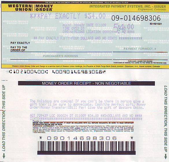 Money Orders Union Western Print