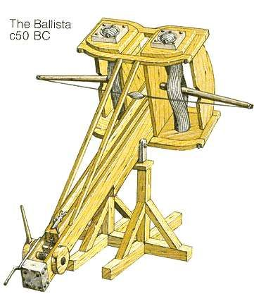 Ancient Greek Artillery Technology: From Catapults to the Architronio Canon  This weapon is a catapult-stone-ball firing Roman Ballista from circa 50 BC, similar to Greek Ballistrae of the 4th, 3rd, and 2nd Centuries BC.