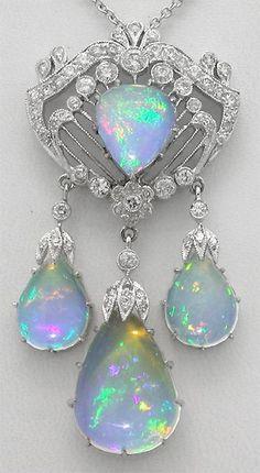 A Belle Epoque Pendant ~ platinum, diamond & opal pendant.