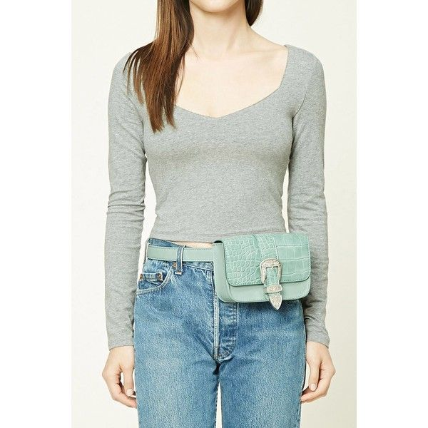 Forever21 Faux Leather Fanny Pack (515 INR) ❤ liked on Polyvore featuring bags, sage, hip fanny pack, flap bag, forever 21, waist fanny pack and bum bag
