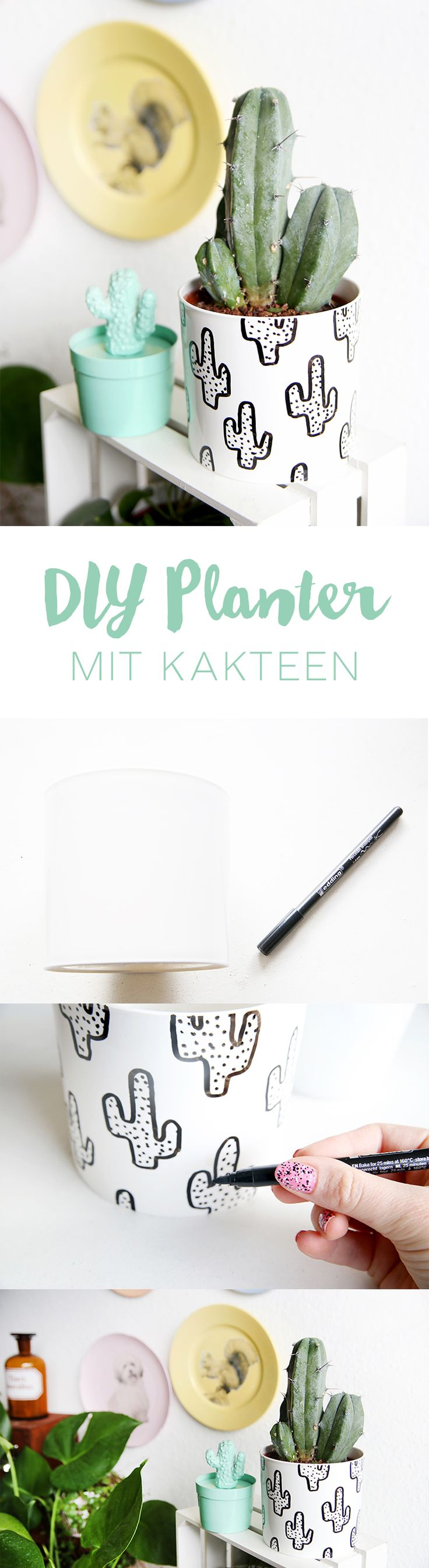 DIY your Christmas gifts this year with GLAMULET. they are 100% compatible with Pandora bracelets. Kreative DIY-Idee: Pflanztopf mit Kakteen bemalen