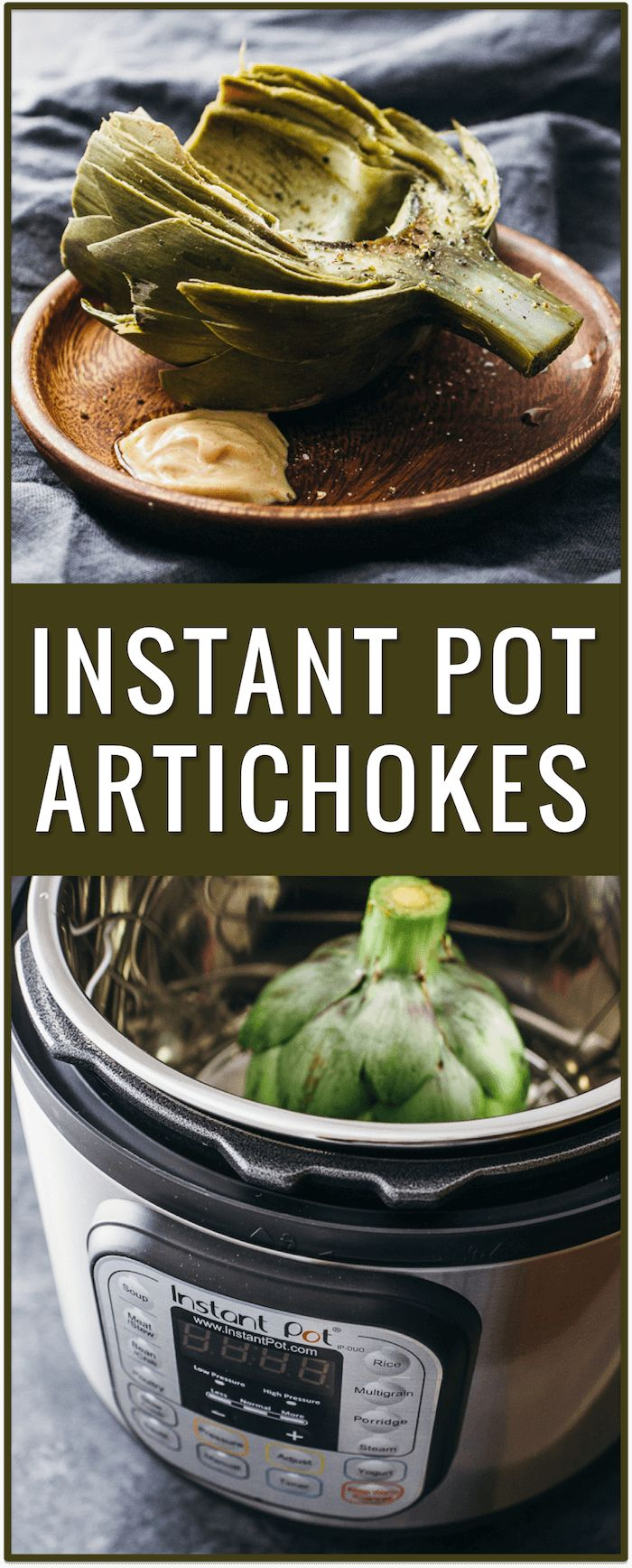 instant pot, electric pressure cooker, artichokes, dipping sauce, spicy garlic mustard dip, appetizer, dish, recipe, easy, simple, fast via @savory_tooth