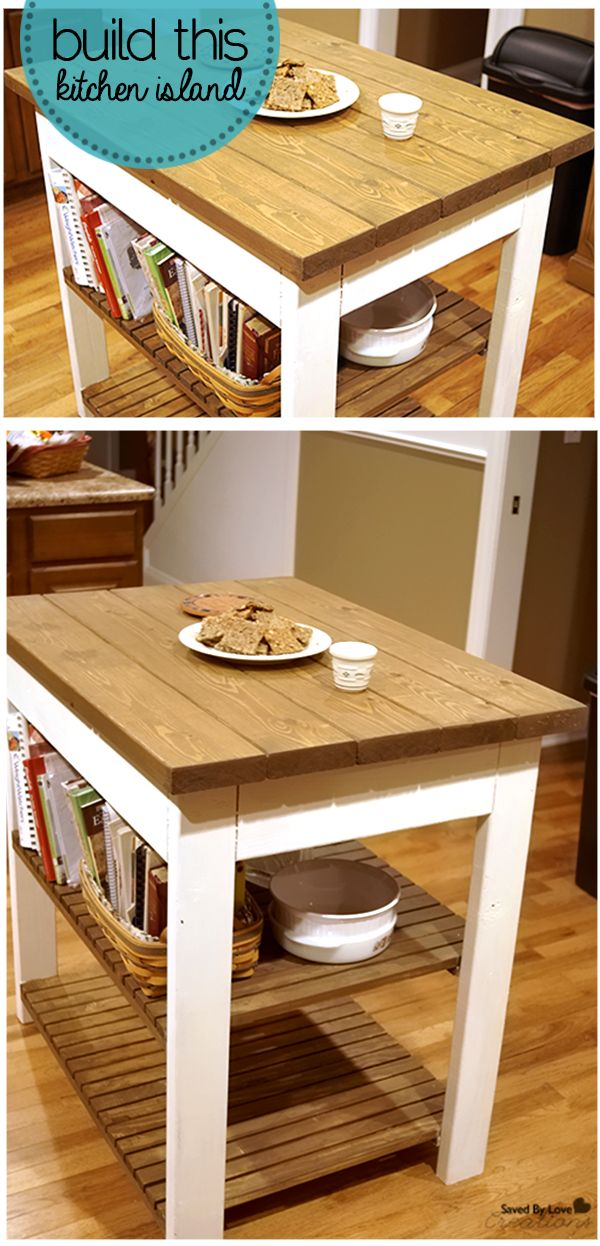 Build a gorgeous kitchen island with this free Ana White #woodworkingplan @savedbyloves