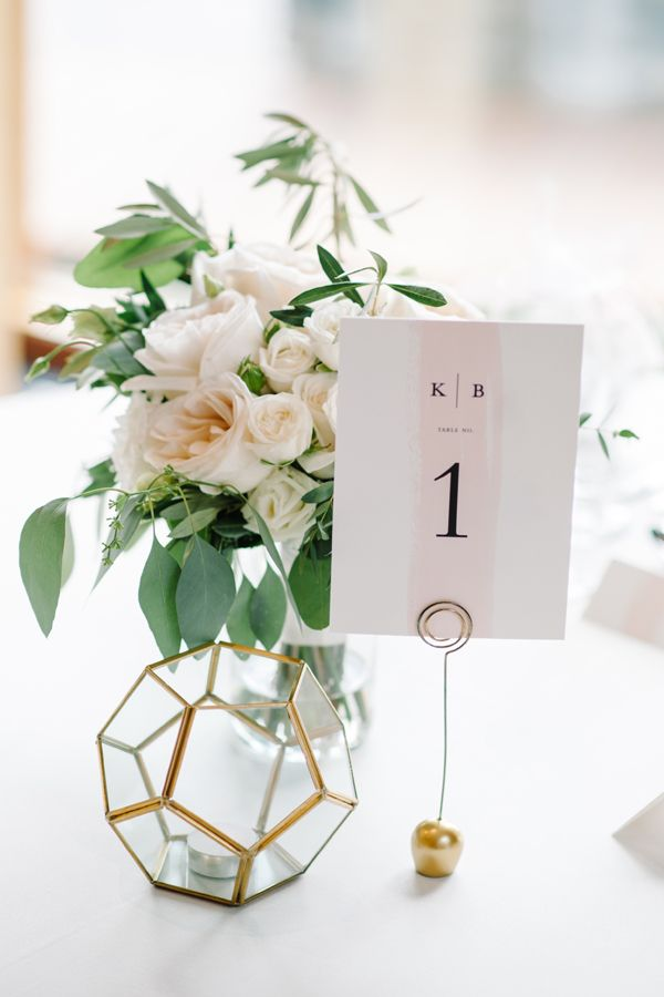 Pretty blush table number - wedding table decoration