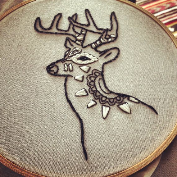 Costume Party Dressed Up Deer Hand Embroidery