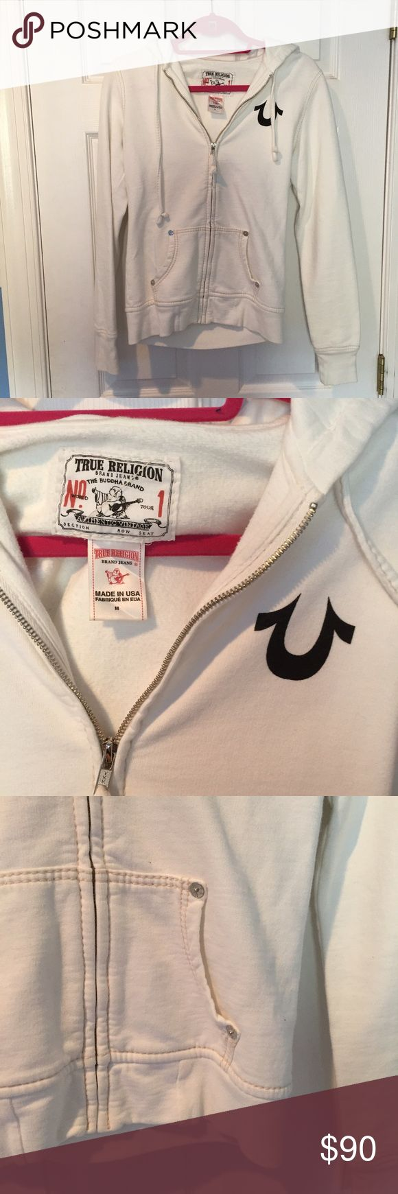 True Religion white zip up True Religion white zip up track jacket, size medium. Only worn once! Very comfy. True Religion Tops Sweatshirts & Hoodies