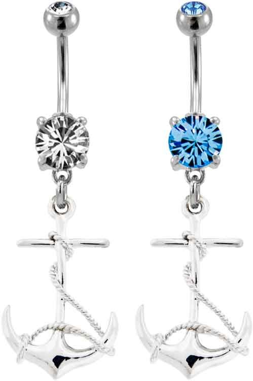Anchor Belly Piercing Ring