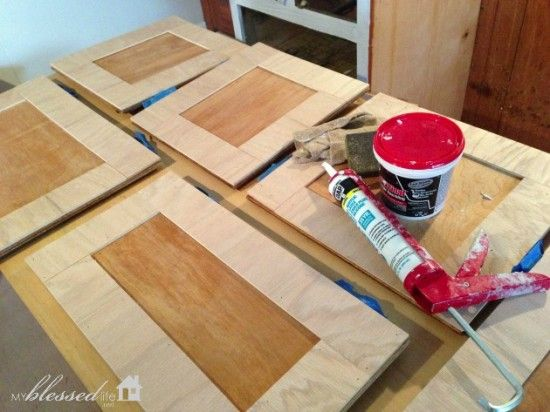 Plywood strips to update cabinet doors